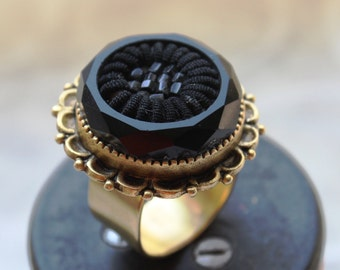 Black Glass Ring, Victorian Style, Morning Jewelry, Intricately carved Antique Button Ring Adjustable, Button Jewelry veryDonna Sutor