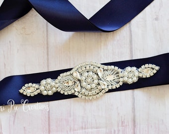 Navy Flower Girl Sashes...Rhinestone Belt -Flower Girl Sash..Bridal Belt/ Sash..Bridesmaid Coordinating Sashes..Maternity Sash