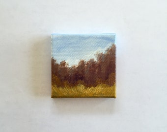 "Miniature Fall Landscape - 2""x2"" Acrylic Painting"