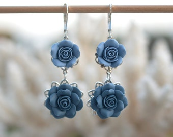 Mardy Double Roses Earrings in Dusty Blue and Claudy Blue