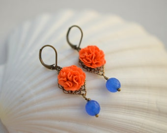 Orange Carnation and Royal Blue Jade Earrings. Orange and Royal Blue Flower Earrings.