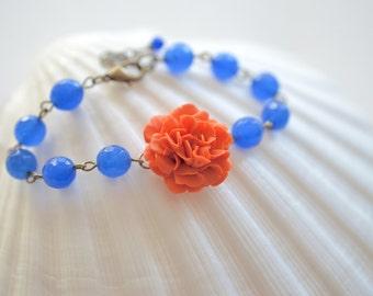 Orange Carnation and Royal Blue Faceted Jade Bracelet. Orange Carnation Bracelet