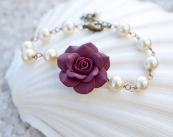 Eggplant Rose and Pearls Bracelet. Purple Rose bracelet. Rose Bracelet. Rose Jewelry.