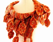 CROCHET SCARF PATTERN, Chunky Scarf, Autumn Leaves Diy Crafts Gift For Women, Easy Crochet Pattern, Unique Scarves, Lyubava Crochet Pdf No.9