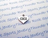 Antique Silver Plated Gigi Charm Message Word Heart