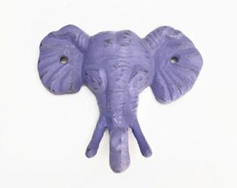 Purple Elephant Nursery Decor. Elephant Wall Hook. Childrens Coat Hook. Safari Decor. Necklace Display. Towel Hanger. Eclectic Modern Decor
