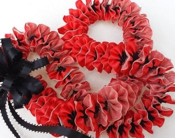 Hawaiian red plumeria ribbon lei