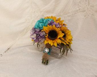 Sunflower Bouquet, Rustic Wedding Bouquet, Turquoise Hydrangea Purple Hydrangea Sunflower Wedding
