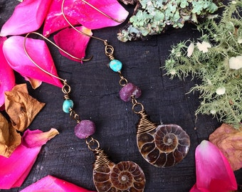 OOAK - Ammonite fossil + pink tourmaline & turquoise- brass wire wrapped handmade earrings