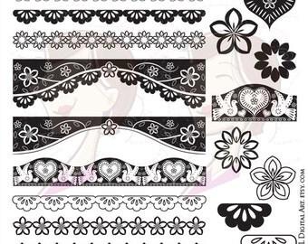 Papel Picado Borders Digital Clip Art Mexican Design Elements VECTOR Love Hearts Floral Flowers Scalloped Lace Black DIY Wedding 10222