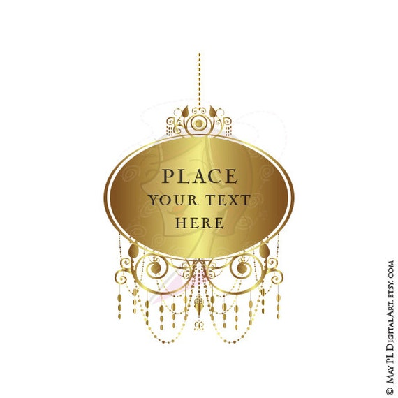 Gold Chandelier Digital Frames Clip Art Commercial Use