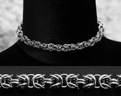 Stainless steel chainmail choker - Byzantine weave - chainmaille jewelry