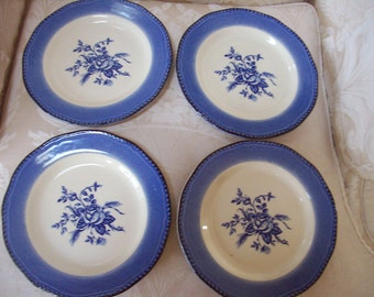 """Vintage - 4 """"COLONIAL ROSE"""" PLATES by Wood & Sons"""