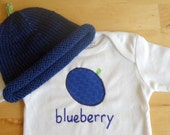 BLUEBERRY Hat and Onesie / Bodysuit Gift Set - Baby Girl or Boy, Long Sleeve, Two Piece  - Available in NB, 3, 6, 9, 12, 18 and 24 months