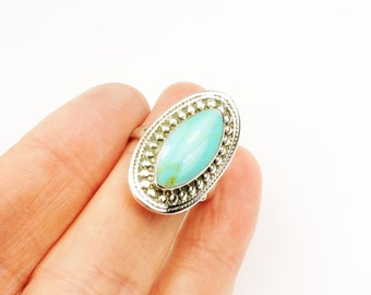 Large Sterling Silver and Turquoise Statement ring, Perfect Summer Ring, Trending Jewelry, Summer Fashion, Rings, Silver Rings, Santa Fe,