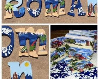 Surfing Baby Nursery Decor, Surfing Baby Nursery, Surfing Wooden Letters, Surf Baby Nursery Decor, Wooden Letters, Surf Nursery Decor,