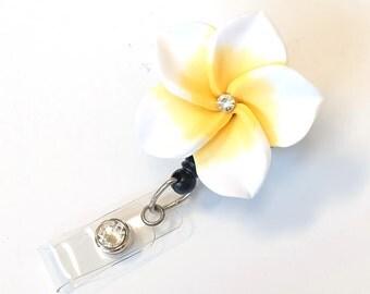 Large White Plumeria - Flower ID Badge Reel - Retractable Name Badge Clips - Designer ID Holder - Nurse Gift - ID Badge Pulls - BadgeBlooms