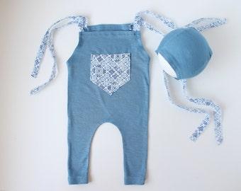 SET of Blue Jersey Stretch Newborn Romper and Sewn Bonnet for Newborn Boy - Ready to Ship