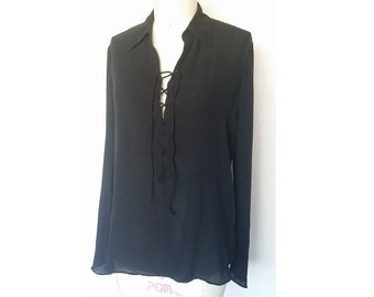SOLD - Do NOT Buy - Lace Up Silk Pirate Shirt / Vintage 90's Black Top Blouse / Size L