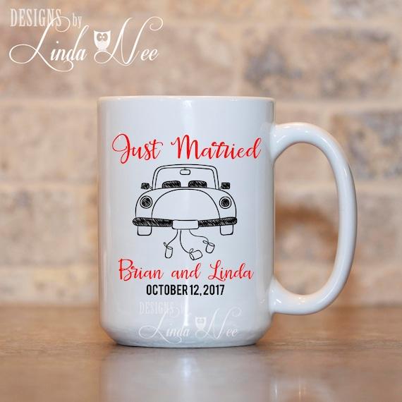 Customized Wedding Gift Mugs : MUG ~ Personalized Just Married Car Mug, Custom Bridal Shower Gift ...