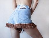 Blue denim faux brown suede fringe short high waist jean shorts L