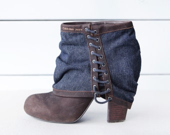 CALVIN KLEIN vintage brown leather blue denim chunky high heel round toe ankle boots size 38 7.5
