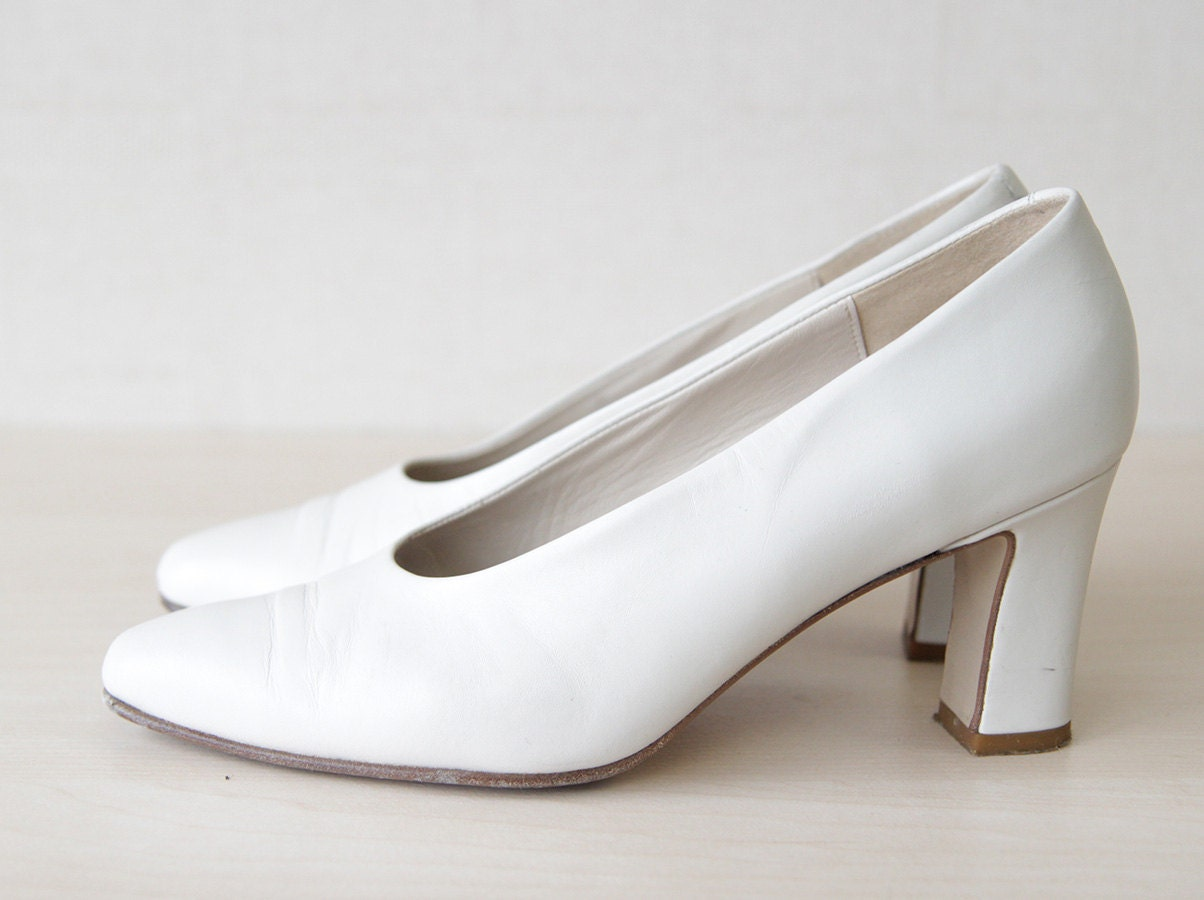 vintage white italian leather high heel wedding resort shoes