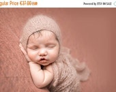 SALE Newborn mohair props set/Knit mohair bonnet and matching wrap-wrap and bonnet in mohair wool
