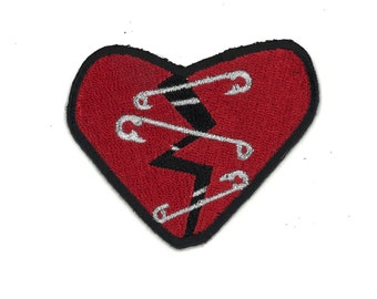 Punk Rock Safety Pin Broken Heart Iron-On Patch Hipster Indie Rainbow Goth Pastel Gothic Black Cute Burlesque Safe Space Rockabilly Horror
