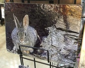 Glass Cutting Board - Mountain Cottontail - 7.75in  x 10.75in