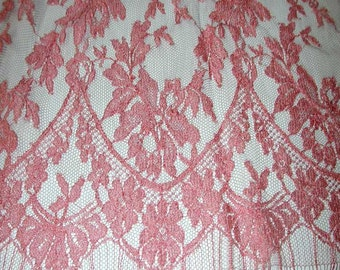 "No. 300 French Rosy Melon Chantilly Lace; 5.5 Yards x 44""; Double Scalloped"