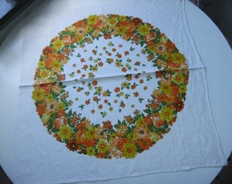 Vintage Swedish wonderful linen tablecloth with flower wreath in orange tones