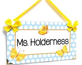 custom teacher blue dots and yellow butterflies themed classroom door sign, Teacher Gift- P701