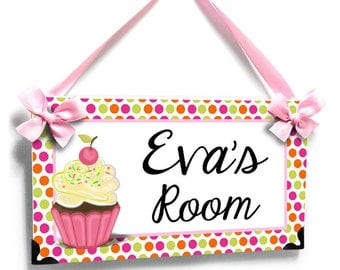 sweet cupcake with pink and green dots girls bedroom name door sign - P2245