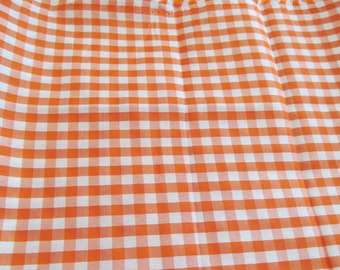 """Orange gingham fabric measring 48"""" by 45"""" (about 1 1/3 yards)"""