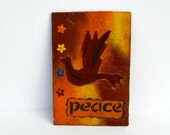Peace Dove Magnet, Mixed Media Art, Refrigerator Magnet, Peace Dove Art, Eco-friendly Art, Home Decor, Housewarming Gift, Recycled Paper
