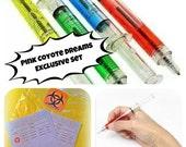 Four 4 Refillable Novelty Syringe Ink Medical Nurse Doctor Pen SET with Script & Biohazard Bags Set