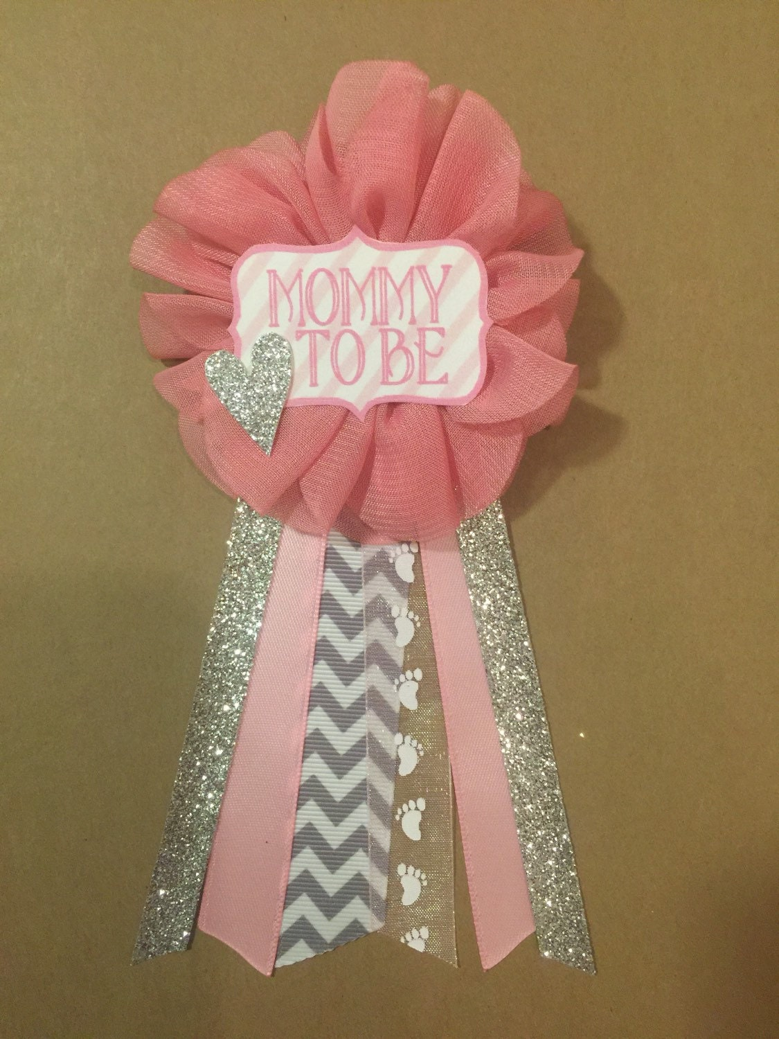 pink and silver baby shower pin mommy to be pin flower ribbon