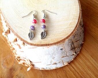 Rouge pink leaf earrings. Leaf earrings. Lila Orchid earrings. Pink leaf earrings. Long earrings. Linnepin010