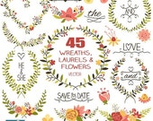 70% SALE Laurels and Wreaths Clip Art - Hand Drawn Wreaths, Laurels and Flowers Clipart, Wedding Laurels Vector - INSTANT DOWNLOAD