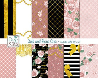 Gold Foil and Rose Chic Digital Papers, Black and Gold Roses Scrapbook Paper - Blush and Gold Papers - Chic Background - INSTANT D