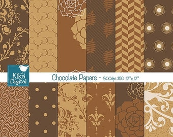 70% Sale Chocolate Caramel Digital Papers, Browns Scrapbook Papers, Chocolate Papers, card design, invitations, paper crafts - INSTANT DOWNL
