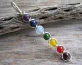 7 Chakra Pendant, Wire Wrapped Chakra Wand, Chakra Rainbow, Gemstone Chakras Jewelry, Yoga Inspired, Buddhist Hindu, SILVER, READY To SHIP