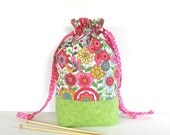 Drawstring Knitting Bag, Project Tote, Yarn Storage in Pink Flowers