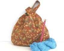 Japanese Knot Knitting Bag, Large Project Bag Rust Moss Green Leaves Wristlet Handbag, Tote Bag