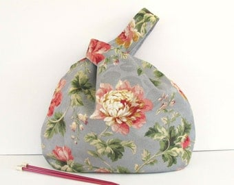 Large Knitting Tote Bag, Knitting Project Bag Country Roses Japanese Knot Bag