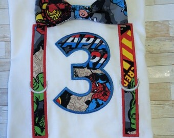 Super hero toddler boys, birthday shirt, bow tie, photo prop outfit, cake smash, personalized, 2T to 5T
