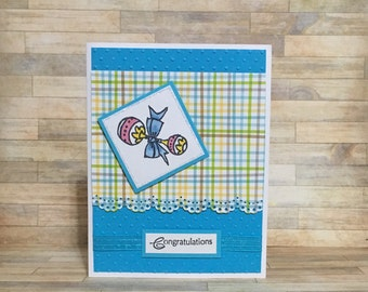 Baby card, congratulations, baby shower, handmade card, greeting card, all occasion card, little boy