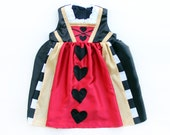 RESERVED Baby Girls Queen of Hearts Costume Dress Handmade Unique - Ready to Ship