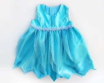 Baby Girls Aqua Blue Fairy Costume Dress Glitter Tulle Handmade Unique - Ready to Ship